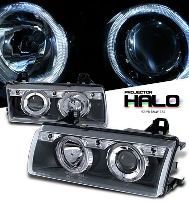 BMW E36 3 Series 1992-1998 Black Dual Halo Projector Headlights