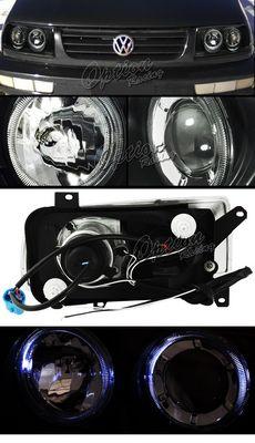VW Jetta 1993-1998 Black Dual Halo Projector Headlights