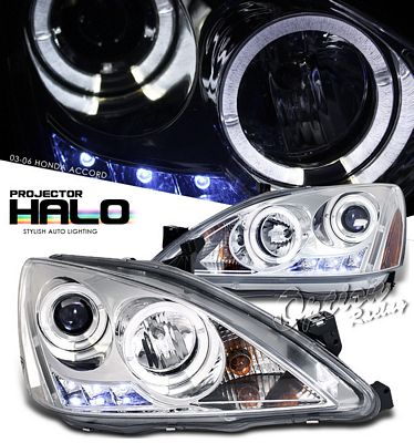 Honda Accord 2003-2007 Clear Halo Projector Headlights with LED DRL