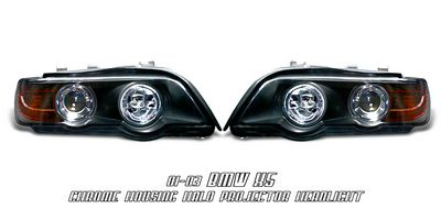 BMW X5 2001-2003 Black Dual Halo Projector Headlights