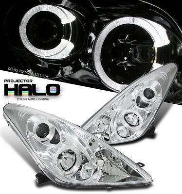 Toyota Celica 2000-2005 Clear Dual Halo Projector Headlights