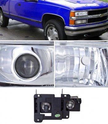 Chevy 1500 Pickup 1988-1998 Chrome Projector Headlights