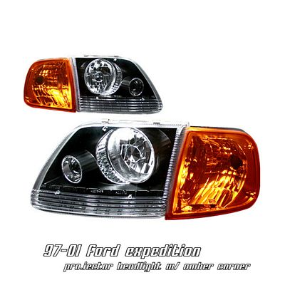 Ford F150 1997-2003 Black Projector Headlights and Corner Lights