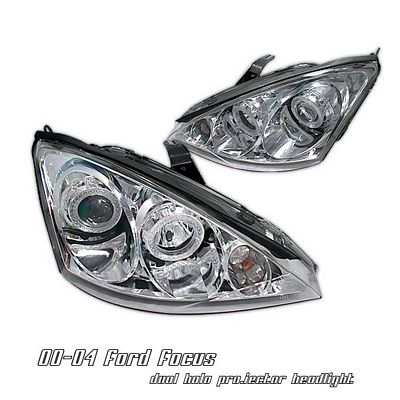 Ford Focus 2000 2004 Clear Dual Halo Projector Headlights