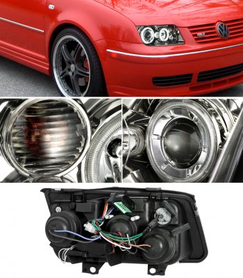 VW Jetta 1999-2004 Smoked CCFL Halo Projector Headlights