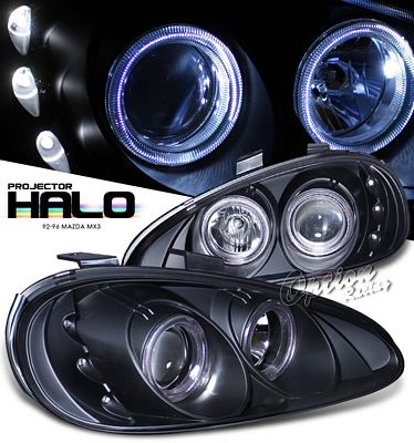 Mazda MX3 1992-1996 Black Dual Halo Projector Headlights