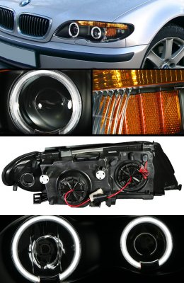 BMW E46 Sedan 3 Series 2002-2005 Black Dual Halo Projector Headlights