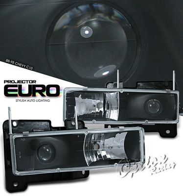 Chevy  Blazer Full Size 1992-1994 Black Projector Headlights