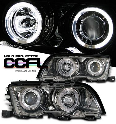 BMW E46 Sedan 3 Series 1999-2001 Smoked Dual CCFL Halo Projector Headlights