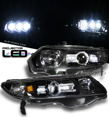 Honda Civic Coupe 2006-2011 JDM Black Projector Headights