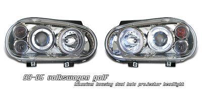 VW Golf 1999-2005 Smoked Dual Halo Projector Headlights