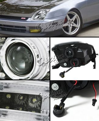 Honda Prelude 1997-2001 Clear CCFL Halo Projector Headlights