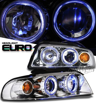 Audi A4 2000-2001 Clear Dual Halo Projector Headlights