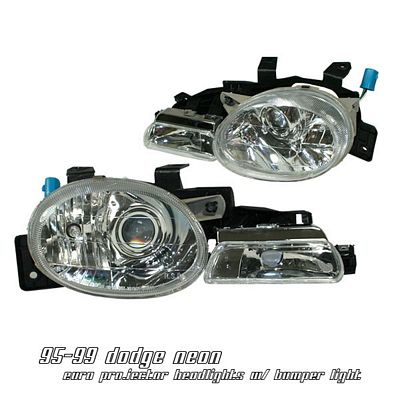 Dodge Neon 1995-1999 Clear Projector Headlights with Bumper Lights