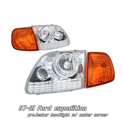 Ford Expedition 1997-2002 Clear Projector Headlights and Corner Lights