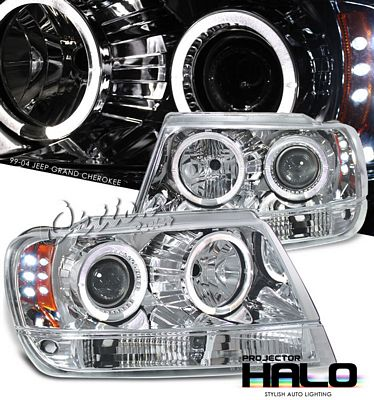 Jeep Grand Cherokee 1999-2004 Clear Dual Halo Projector Headlights with LED