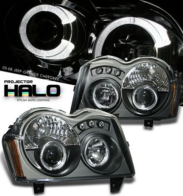Jeep Grand Cherokee 2005-2007 Black Halo Projector Headlights with LED