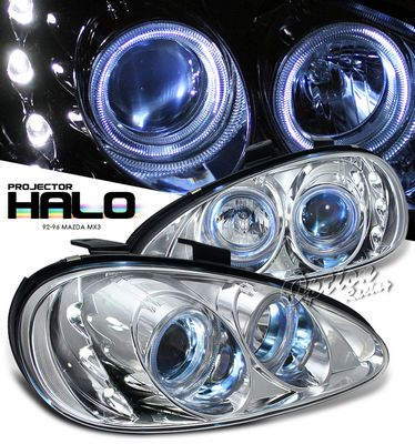 Mazda MX3 1992-1996 Clear Dual Halo Projector Headlights