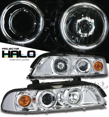 BMW E39 5 Series 1997-2003 Clear Dual Halo Projector Headlights