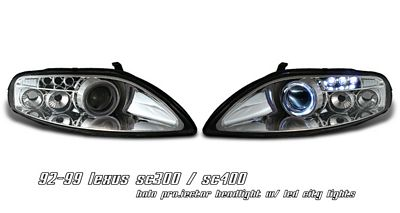 Lexus SC300 1992-1999 Clear CCFL Halo Projector Headlights