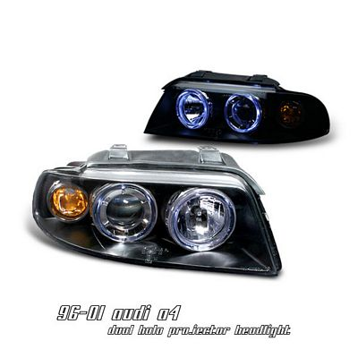 Audi A4 1996-2001 Black Dual Halo Projector Headlights