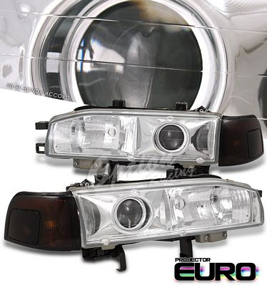 Honda Accord 1990-1991 Clear Projector Headlights and Smoked Amber Corner Lights