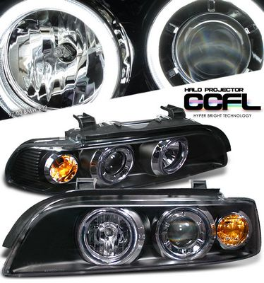 BMW E39 5 Series 1997-2003 Black Dual CCFL Halo Projector Headlights