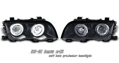 BMW E46 Sedan 3 Series 1999-2001 Black Dual CCFL Halo Projector Headlights