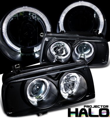 VW Jetta 1993-1998 Black Dual Halo Projector Headlights