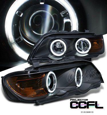 BMW X5 2001-2003 Black Dual CCFL Halo Projector Headlights