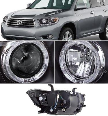 Toyota Highlander 2008 2010 Black Halo Projector
