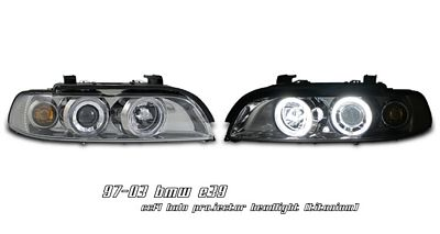 BMW E39 5 Series 1997-2003 Smoked Dual CCFL Halo Projector Headlights