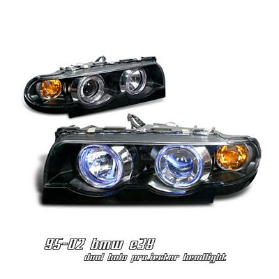 BMW E38 7 Series 1995-2001 Black Dual Halo Projector Headlights