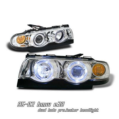 BMW E38 7 Series 1995-2001 Clear Dual Halo Projector Headlights