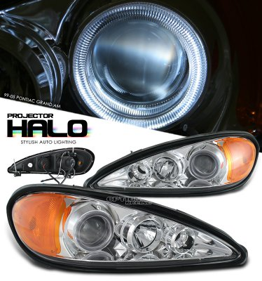 Pontiac Grand AM 1999-2005 Clear Halo Projector Headlights
