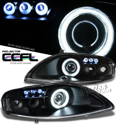 Lexus SC400 1992-1999 Black CCFL Halo Projector Headlights
