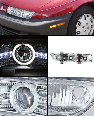 Saturn SL 1996-1999 Clear CCFL Halo Projector Headlights with Integrated LED