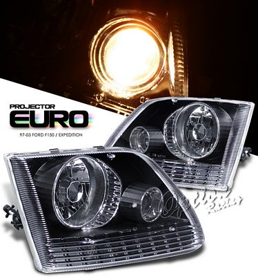 Ford F150 1997-2003 Black Crystal Projector Headlights