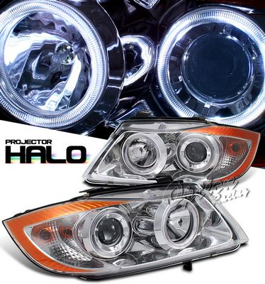 BMW E90 Sedan 3 Series 2006-2008 Clear Dual Halo Projector Headlights