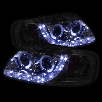 Ford F150 19972003 Black LED DRL Projector Headlights with Halo