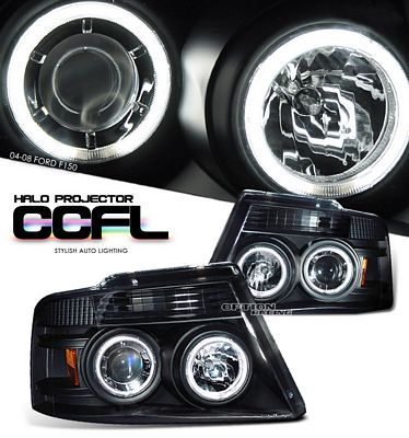 Ford F150 2004-2008 Black Dual CCFL Halo Projector Headlights