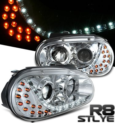 2000 VW Golf Clear Projector Headlights with LED Daytime Running Lights
