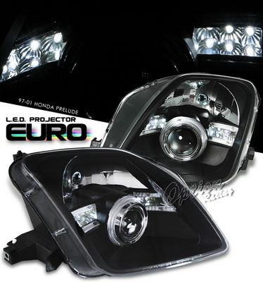 Honda Prelude 1997-2001 JDM Black Projector Headlights