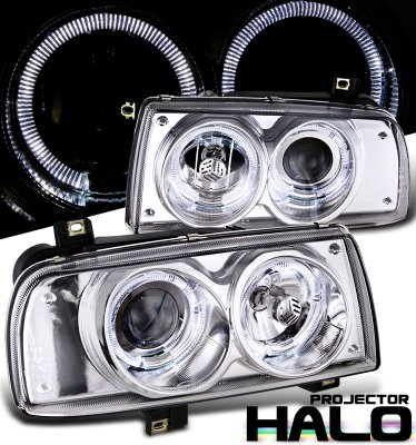 VW Jetta 1993-1998 Clear Halo Projector Headlights