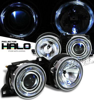BMW E30 3 Series 1982-1991 Clear Dual Halo Projector Headlights