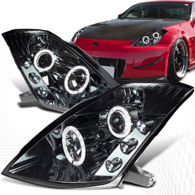 Nissan 350z 2003 2005 Smoked Halo Projector Headlights With Led A101jj99101 Topgearautosport