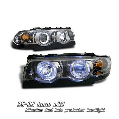 BMW E38 7 Series 1995-2001 Smoked Dual Halo Projector Headlights