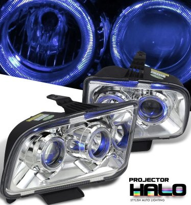 Ford Mustang 2005-2009 Clear Dual Halo Projector Headlights