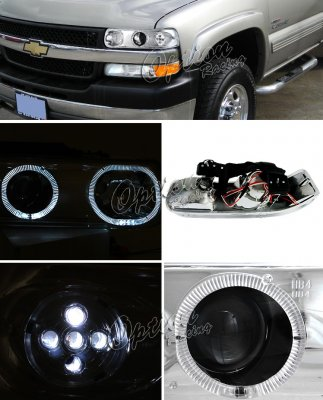 Chevy Silverado 1999-2002 Clear LED Halo Projector Headlights