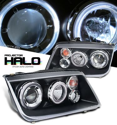 VW Jetta 1999-2004 Black Dual Halo Projector Headlights